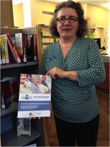 "Trina O'Brian Leggott, Chief Librarian at the Confederation Centre Library receives the ""It's Your Right"" toolkits in March 2015."